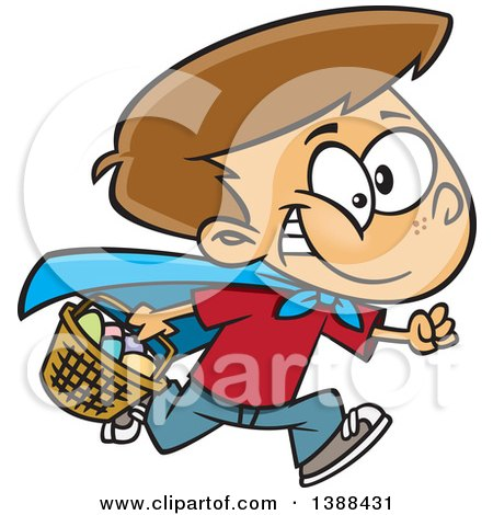 Clipart of a Cartoon Brunette White Boy Wearing a Cape and Running at an Easter Egg Hunt - Royalty Free Vector Illustration by toonaday