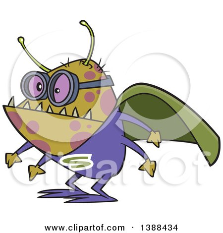 Clipart Of A Cartoon Super Illness Bug Wearing A Cape Royalty Free Vector Illustration