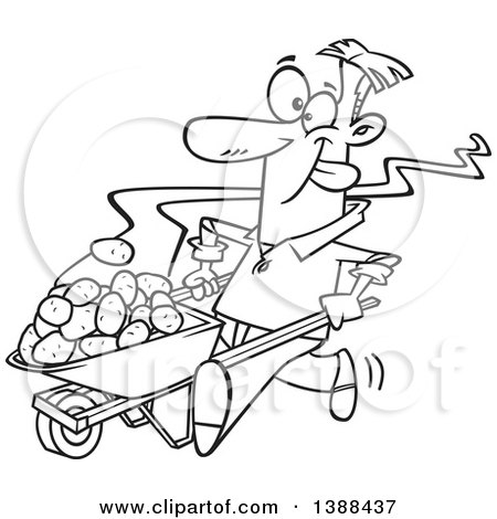 Clipart of a Cartoon Black and White Lineart Man Pushing Hot Spuds in a Wheelbarrow - Royalty Free Vector Illustration by toonaday