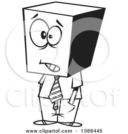 Clipart of a Cartoon Black and White Lineart Business Man with a ...