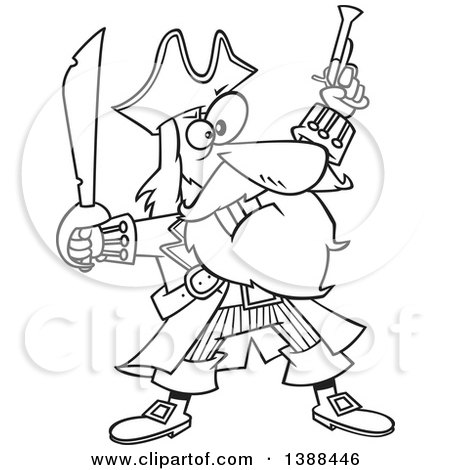 Clipart of a Cartoon Black and White Lineart Pirate Captain, Bluebeard, Holding up a Sword and Pistol - Royalty Free Vector Illustration by toonaday