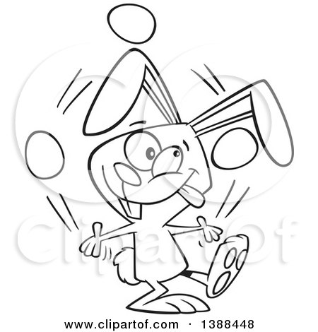 Clipart of a Cartoon Black and White Lineart Easer Bunny Rabbit Juggling Easter Eggs - Royalty Free Vector Illustration by toonaday