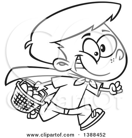 Clipart of a Cartoon Black and White Lineart Boy Wearing a Cape and Running at an Easter Egg Hunt - Royalty Free Vector Illustration by toonaday