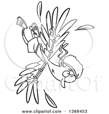 Clipart of a Cartoon Black and White Lineart Scene of Icarus Falling After the Wax on His Wings Melted - Royalty Free Vector Illustration by toonaday