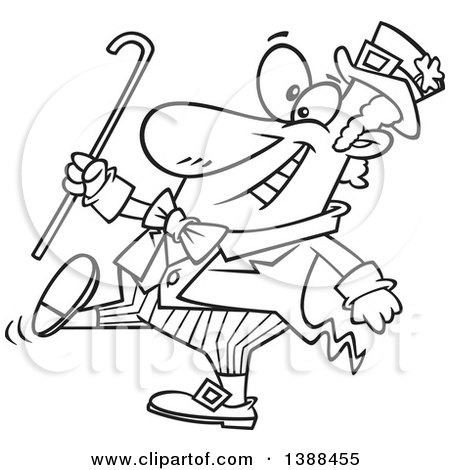 Clipart of a Cartoon Black and White Lineart St Patricks Day Leprechaun Holding a Cane and Strutting - Royalty Free Vector Illustration by toonaday