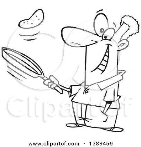 Clipart of a Cartoon Black and White Lineart African Man Flipping Pancakes - Royalty Free Vector Illustration by toonaday