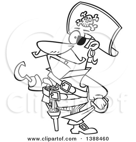 Clipart of a Cartoon Black and White Lineart Pirate Captain with a Peg Leg and Hook Hand - Royalty Free Vector Illustration by toonaday