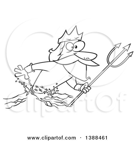 Clipart of a Cartoon Black and White Lineart Merman, Poseidon, Holding a Trident - Royalty Free Vector Illustration by toonaday
