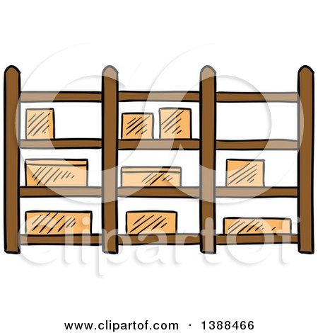Clipart of a Sketched Warehouse Shelf with Boxes - Royalty Free Vector Illustration by Vector Tradition SM