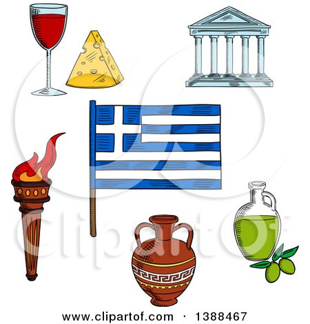 Clipart of a Sketched Greek Flag, Flaming Torch, Ceramic Amphora, Parthenon Temple, Olive Oil, Wine and Cheese - Royalty Free Vector Illustration by Vector Tradition SM