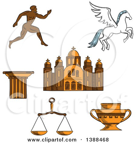 Clipart of a Sketched Greek Runner, Capital on a Column, Pegasus and Amphora, Scales and Temple - Royalty Free Vector Illustration by Vector Tradition SM
