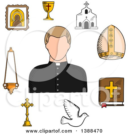 Clipart of a Sketched Priest and Religious Icons - Royalty Free Vector Illustration by Vector Tradition SM