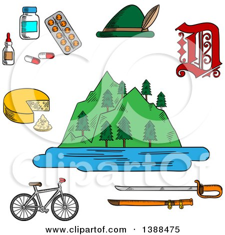Clipart of a Sketched German Alps Mountains, Forest and Lake, Surrounded by Bavarian Hat and Cheese, Medication and Gothic German Letter, Bicycle and Medieval Sword - Royalty Free Vector Illustration by Vector Tradition SM