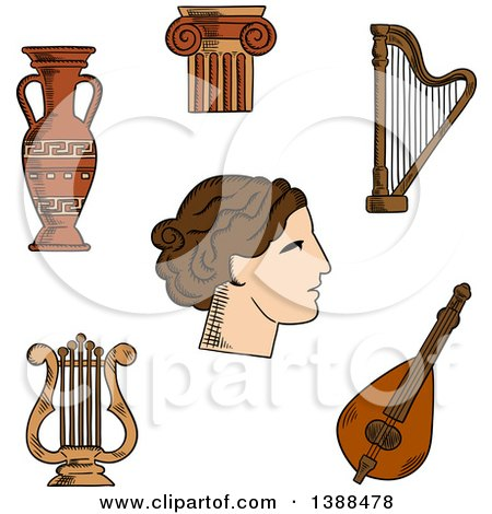 Clipart of a Sketched Greek Theater Actress, Surrounded by Ionic Columns with Ornamental Scrolls, Amphora and Lyre, Harp and Mandolin - Royalty Free Vector Illustration by Vector Tradition SM