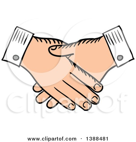Clipart of a Sketched Handshake - Royalty Free Vector Illustration by Vector Tradition SM