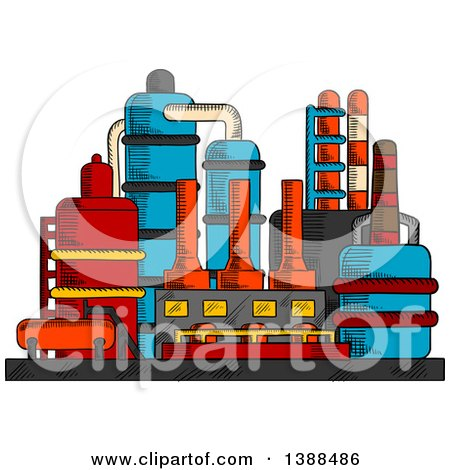 Clipart of a Sketched Factory Complex - Royalty Free Vector Illustration by Vector Tradition SM