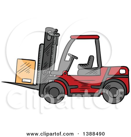 Clipart of a Sketched Red Forklift with a Box - Royalty Free Vector Illustration by Vector Tradition SM