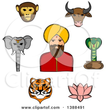 Clipart of a Sketched Indian Man with Animals and a Lotus Flower - Royalty Free Vector Illustration by Vector Tradition SM