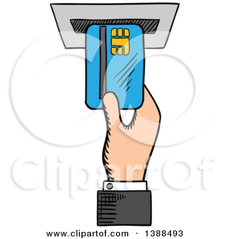 Clipart of a Sketched Mans Hand Inserting a Credit Card in an Atm - Royalty Free Vector Illustration by Vector Tradition SM