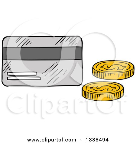 Clipart of a Sketched Credit Card and Coins - Royalty Free Vector Illustration by Vector Tradition SM