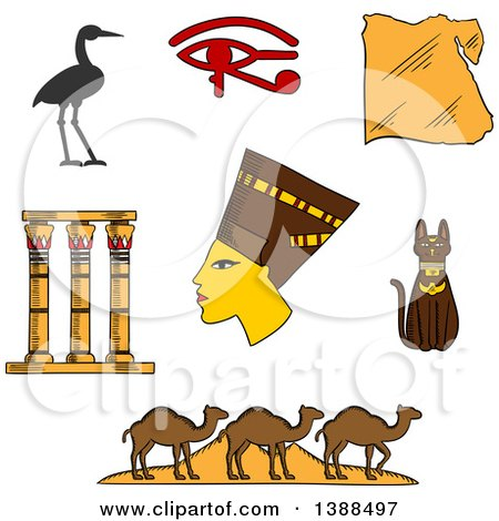 Clipart of a Sketched Ancient Egyptian Queen Nefertiti, Map of Egypt, Cat, Pyramids and Camels, Temple Columns, Eye of Horus and Sacred Heron - Royalty Free Vector Illustration by Vector Tradition SM