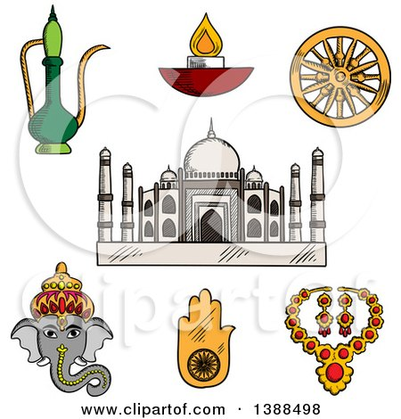 Clipart of a Sketched Indian Travel and Culture Items, Taj Mahal, Ganesha, Antique Jewelry, Diwali Lamp, Copper Teapot, Lucky Amulet of Hamsa, Hand, and Ashoka Chakra Symbol - Royalty Free Vector Illustration by Vector Tradition SM