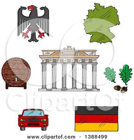 Clipart of Sketched German Icons with Map and Flag, Eagle Emblem and Oak Branches, Wooden Barrel of Beer, Car and Brandenburg Gates - Royalty Free Vector Illustration by Vector Tradition SM