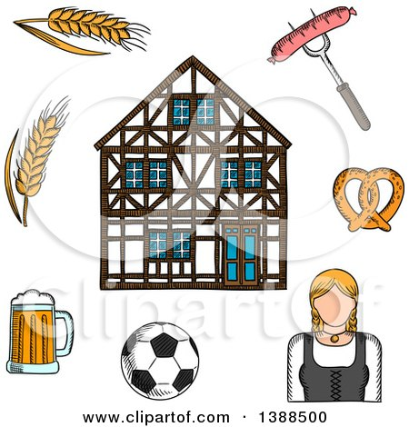 Clipart of a Sketched Beer Mug, Grilled Sausage, Pretzel, Football Ball, Woman in National Costume, Barley and Traditional German Half-timbered Building - Royalty Free Vector Illustration by Vector Tradition SM