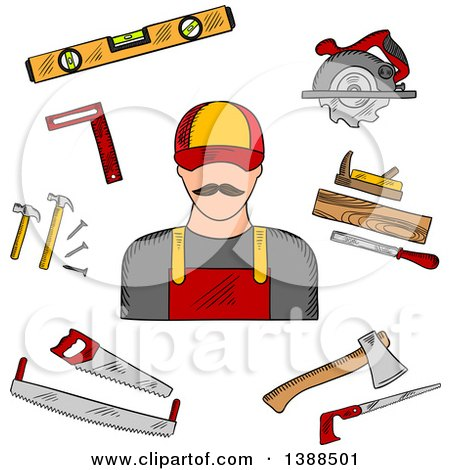 Clipart of a Sketched Carpenter and Tools - Royalty Free Vector Illustration by Vector Tradition SM