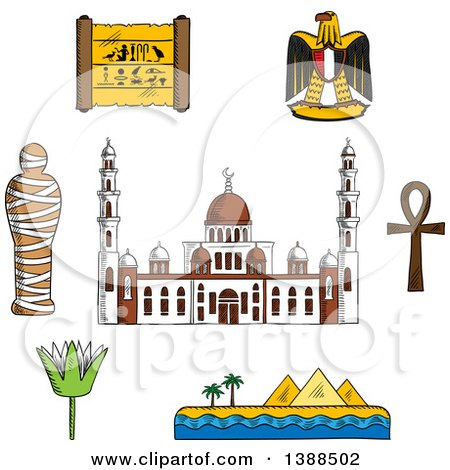 Clipart of a Sketched Cairo Mosque, Pharaoh Mummy, Desert Landscape with Pyramids and Sea, Sacred Lotus Flower, Papyrus with Hieroglyphics, Eagle Emblem and Ankh Symbol - Royalty Free Vector Illustration by Vector Tradition SM