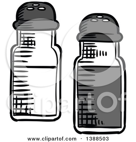 Clipart Of Sketched Salt And Pepper Shakers Royalty Free