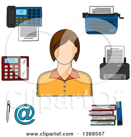 Clipart of a Sketched White Female Secretary, Printer, Telephone, Fax, Typewriter, File Folders, Pen and Email Sign - Royalty Free Vector Illustration by Vector Tradition SM