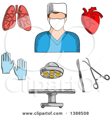 Clipart of a Sketched Surgeon Doctor, Organs and Accessories - Royalty Free Vector Illustration by Vector Tradition SM