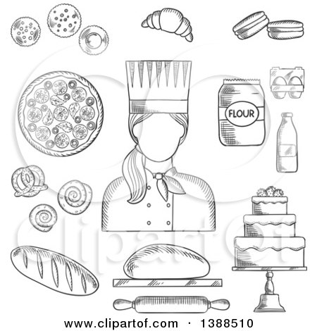 Clipart of a Black and White Sketched Female Baker with Goods - Royalty Free Vector Illustration by Vector Tradition SM