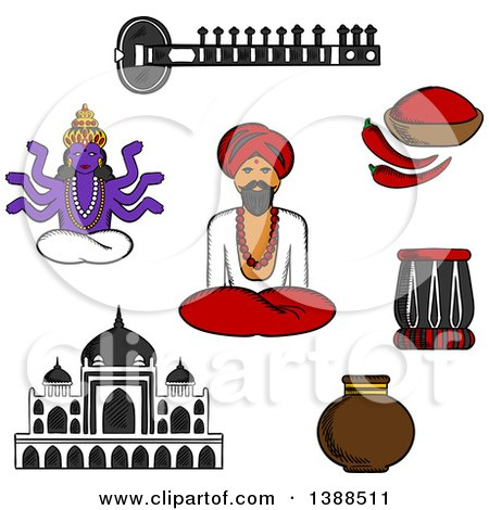 Clipart of a Sketched Sitar, Fresh Chili Pepper and Chili Powder, Tabla Drum, Vase, Ancient Temple, God Vishnu, Bearded Man in Turban in Lotus Pose - Royalty Free Vector Illustration by Vector Tradition SM