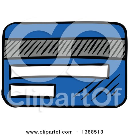Clipart of a Sketched Blue Credit Card - Royalty Free Vector Illustration by Vector Tradition SM