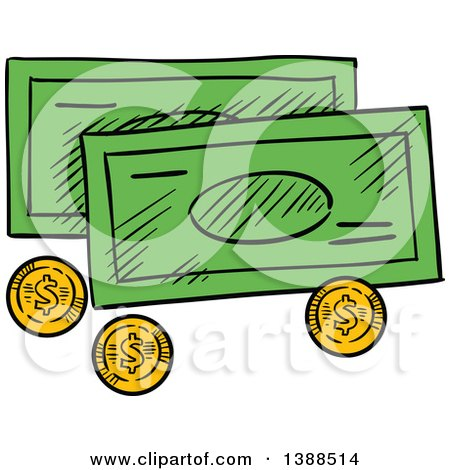 Clipart of Sketched Cash Money and Coins - Royalty Free Vector Illustration by Vector Tradition SM