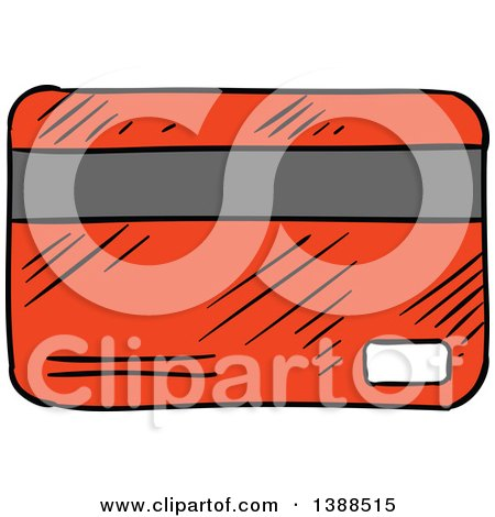 Clipart of a Sketched Red Credit Card - Royalty Free Vector Illustration by Vector Tradition SM