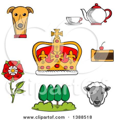 Clipart of a Sketched British Royal Crown, Tudor Rose, Tea Set, Fruitcake, Buckingham Palace Park, Welsh Corgi and Sheep - Royalty Free Vector Illustration by Vector Tradition SM