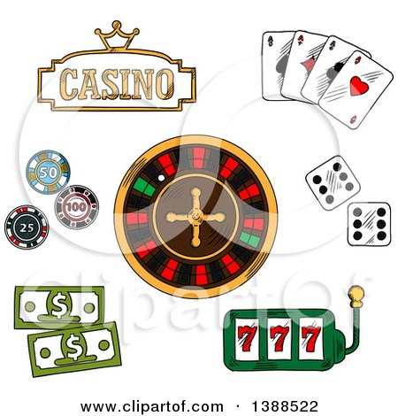 Clipart of a Sketched Casino Sign, Playing Cards, Dice, Roulette, Poker Chips and Cash - Royalty Free Vector Illustration by Vector Tradition SM