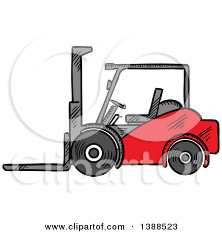 Clipart of a Sketched Red Forklift - Royalty Free Vector Illustration by Vector Tradition SM