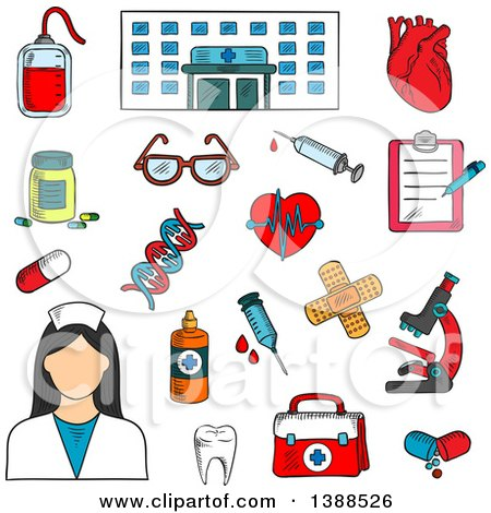 Clipart of a Sketched Hospital, Nurse and Medical Items - Royalty Free Vector Illustration by Vector Tradition SM