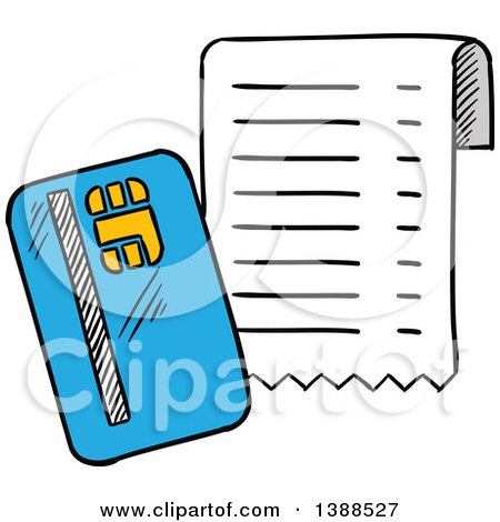 Clipart of a Sketched Credit Card and Receipt - Royalty Free Vector Illustration by Vector Tradition SM