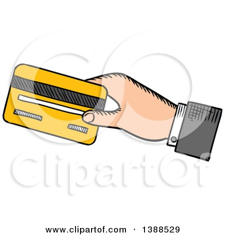 Clipart of a Sketched Mans Hand Holding out a Credit Card - Royalty Free Vector Illustration by Vector Tradition SM