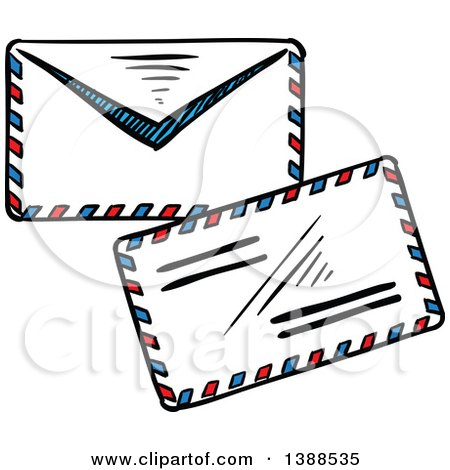 Clipart of Sketched Envelopes - Royalty Free Vector Illustration by Vector Tradition SM