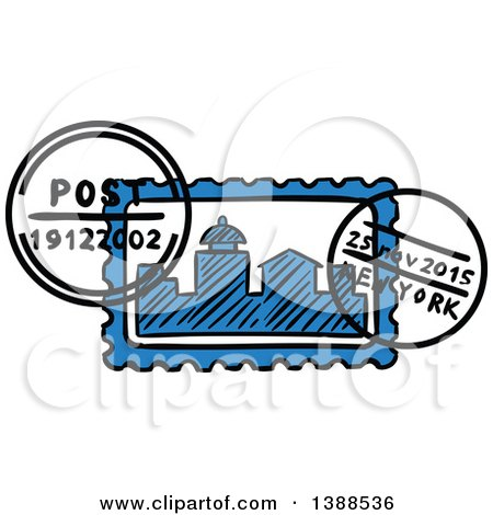 Clipart of a Sketched New York Postmark - Royalty Free Vector Illustration by Vector Tradition SM