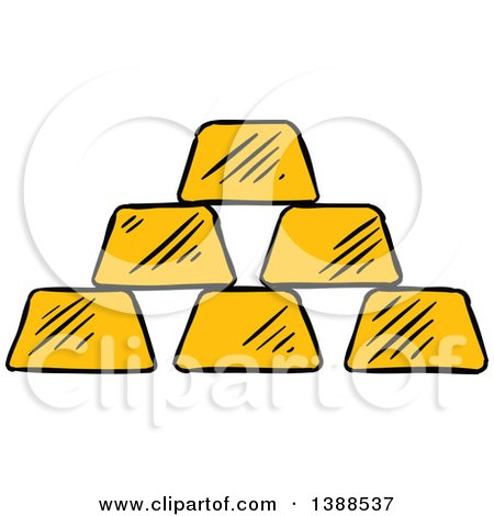 Clipart of a Sketched Gold Bars - Royalty Free Vector Illustration by Vector Tradition SM