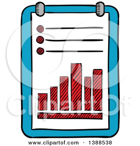 Clipart of a Sketched List and Graph - Royalty Free Vector Illustration by Vector Tradition SM