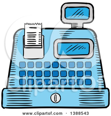 Clipart of a Sketched Cash Register - Royalty Free Vector Illustration by Vector Tradition SM