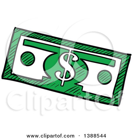Clipart of a Sketched Cash Dollar Bill Banknote - Royalty Free ...